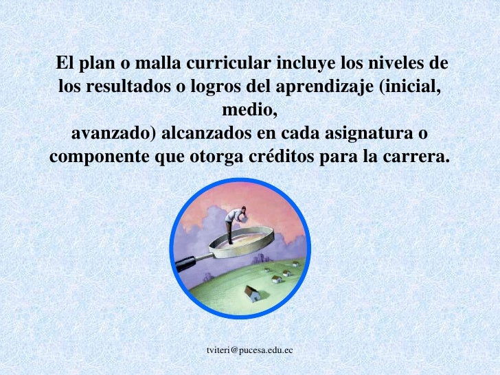 tviteri@pucesa.edu.ec<br />La malla curricular debe indicar el tipo de materia: obligatoria, optativa, práctica. La secuen...