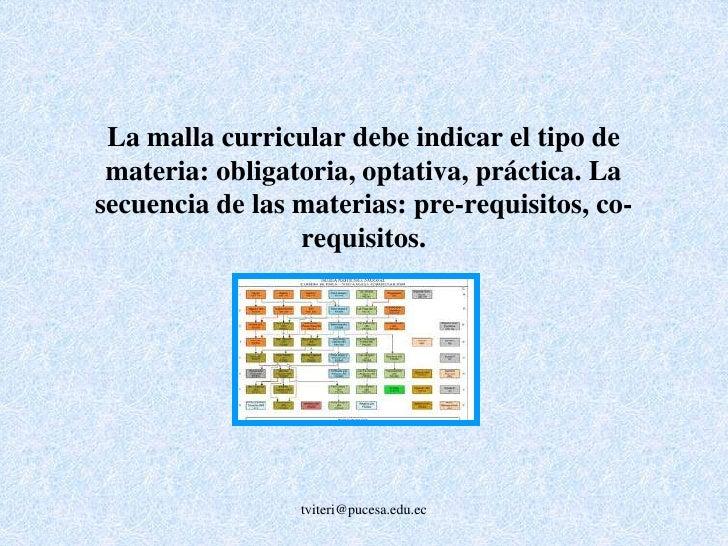 Cada materia de la carrera debe contar obligatoriamente con un sílabo o programa de la materia que especifique claramente,...