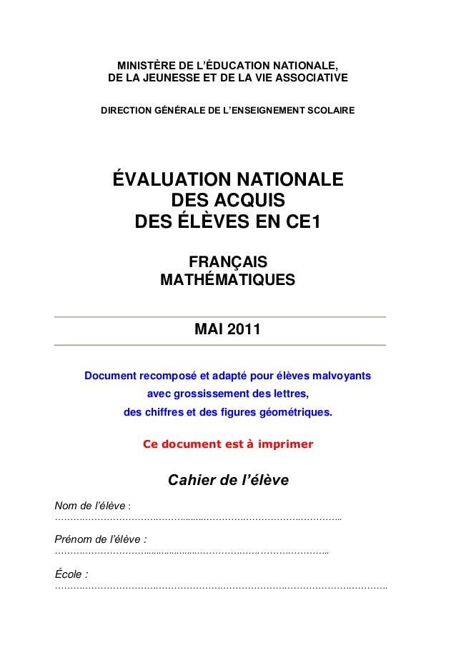 Evaluation Nationale Des Acquis Des Eleves En Ce1