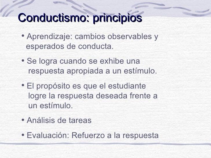 Conductismo: principios   Aprendizaje: cambios observables y    esperados de conducta.   Se logra cuando se exhibe una  ...