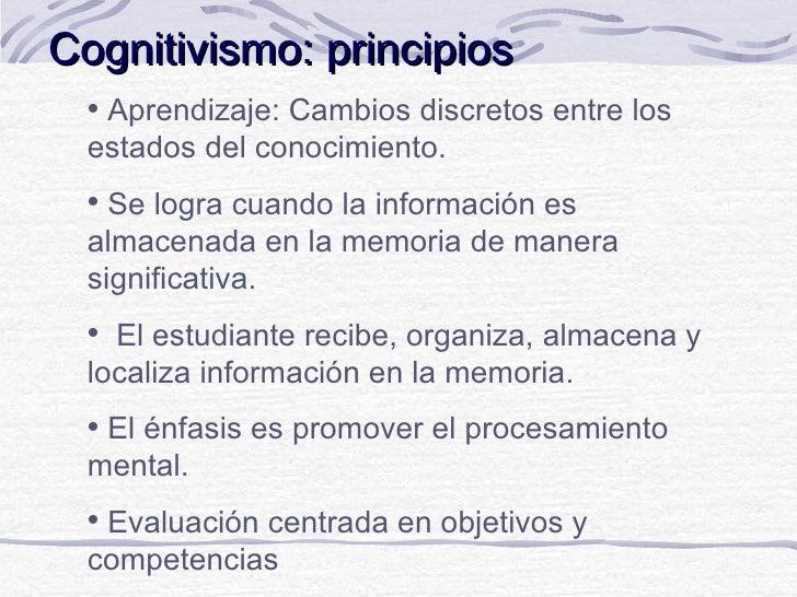 Cognitivismo: principios  Aprendizaje: Cambios discretos entre los  estados del conocimiento.   Se logra cuando la infor...