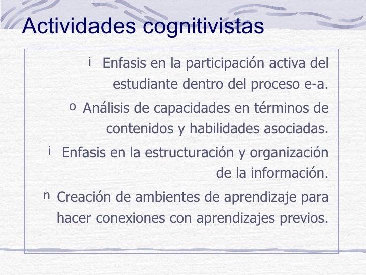 Actividades cognitivistas        i Enfasis en la participación activa del            estudiante dentro del proceso e-a.   ...