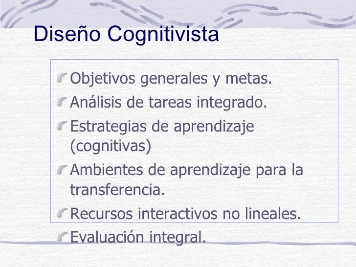 Diseño Cognitivista   Objetivos generales y metas.   Análisis de tareas integrado.   Estrategias de aprendizaje   (cogniti...