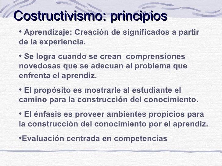 Costructivismo: principiosAprendizaje: Creación de significados a partirde la experiencia.Se logra cuando se crean compr...