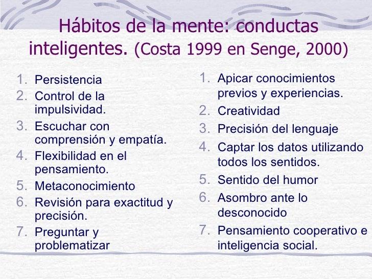 Hábitos de la mente: conductas     inteligentes. (Costa 1999 en Senge, 2000)1. Persistencia                  1. Apicar con...