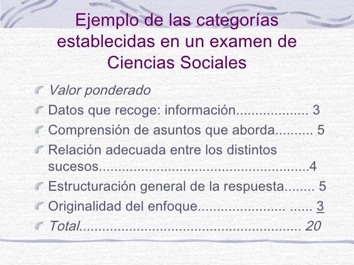 Ejemplo de las categorías  establecidas en un examen de        Ciencias SocialesValor ponderadoDatos que recoge: informaci...