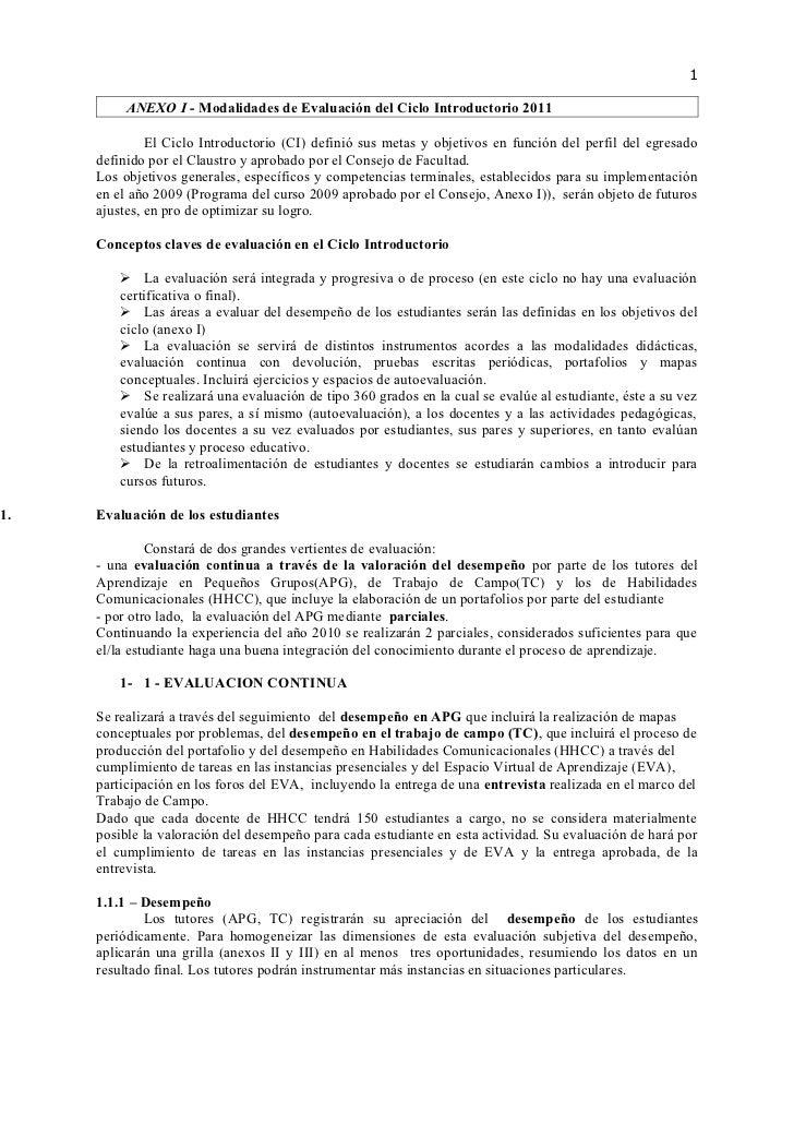 1          ANEXO I - Modalidades de Evaluación del Ciclo Introductorio 2011              El Ciclo Introductorio (CI) defin...