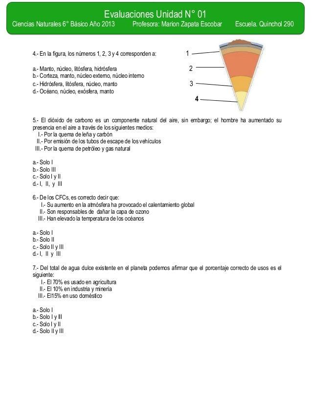 Evaluacion for El suelo y sus capas