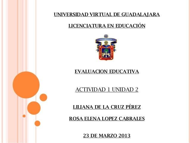 UNIVERSIDAD VIRTUAL DE GUADALAJARA    LICENCIATURA EN EDUCACIÓN      EVALUACION EDUCATIVA      ACTIVIDAD 1 UNIDAD 2      L...