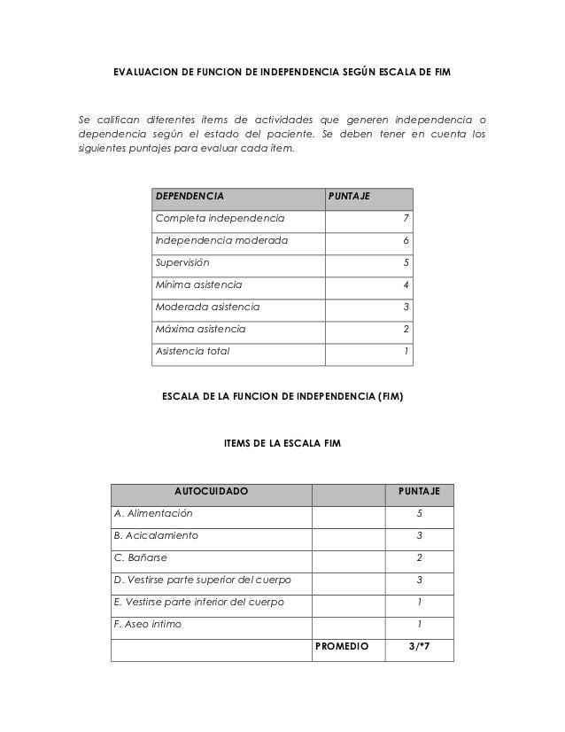EVALUACION DE FUNCION DE INDEPENDENCIA SEGÚN ESCALA DE FIM Se califican diferentes ítems de actividades que generen indepe...