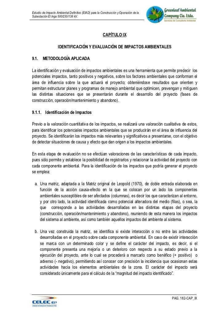 Estudio de Impacto Ambiental Definitivo (EIAD) para la Construcción y Operación de laSubestación El Inga 500/230/138 kV.  ...