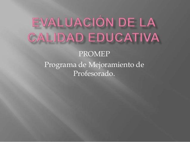 PROMEP Programa de Mejoramiento de Profesorado.