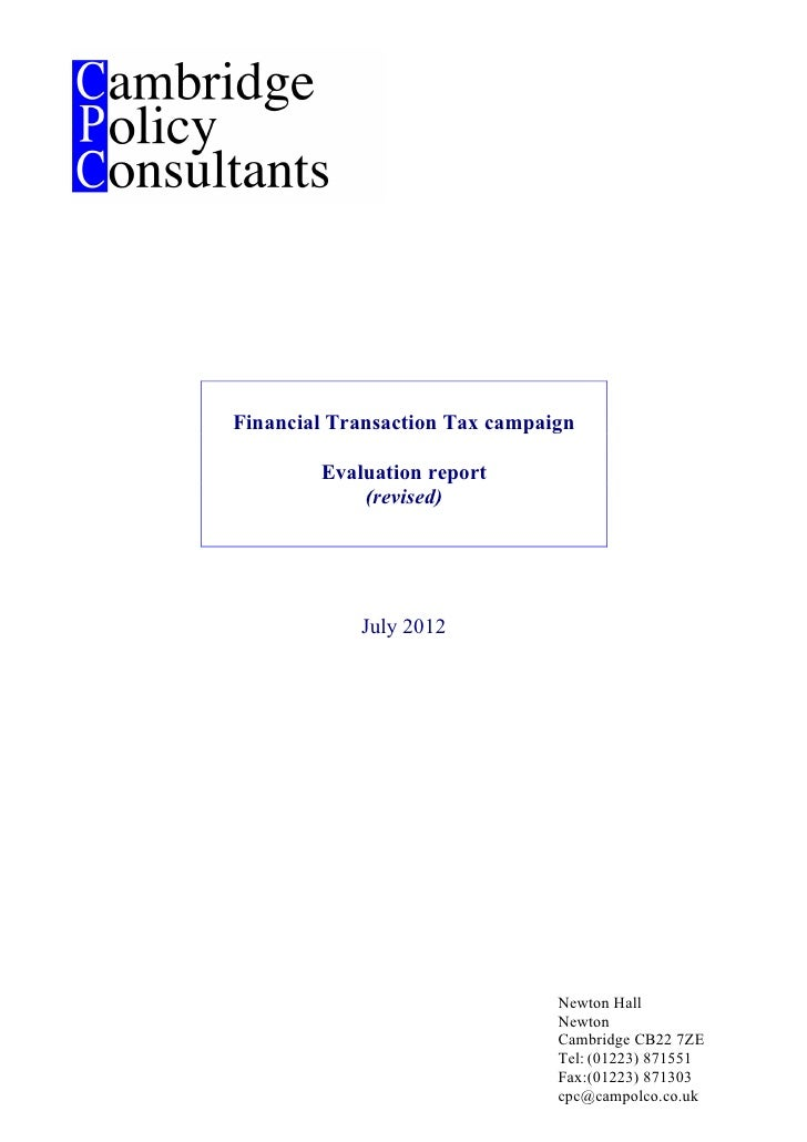 Financial Transaction Tax campaign        Evaluation report            (revised)            July 2012                     ...
