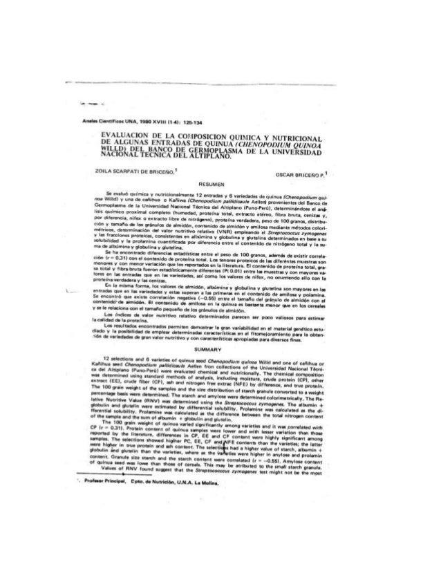 """Anahi Científicos UNA.  IS"""" XVIII Ill):  116-134  EVALUACION DE LA COMPOSICION QUIMICA Y NUTRICIONAL DE ALGUNAS ENTRADAS D..."""