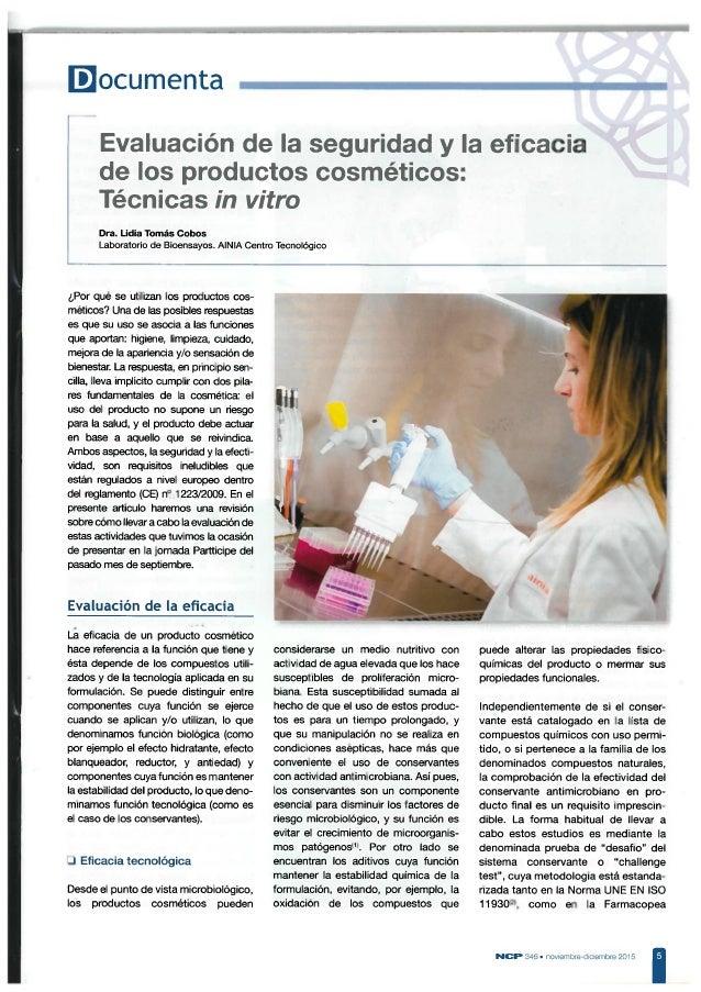 Evaluación de la seguridad y la eficacia de los productos cosméticos. Técnicas in vitro