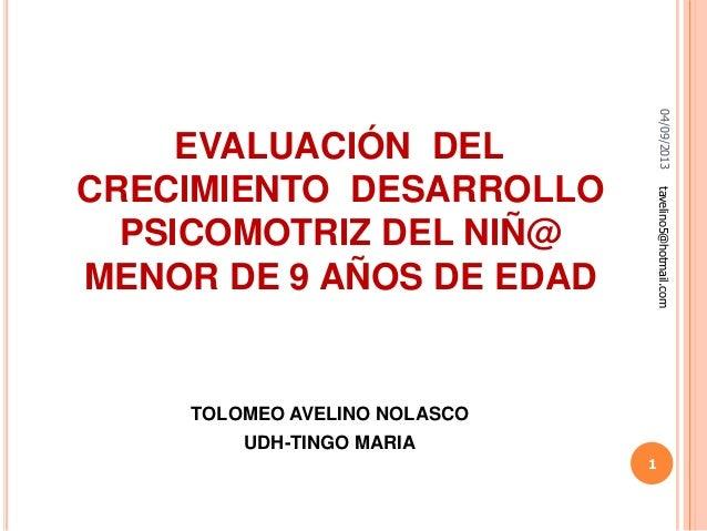 04/09/2013tavelino5@hotmail.com 1 EVALUACIÓN DEL CRECIMIENTO DESARROLLO PSICOMOTRIZ DEL NIÑ@ MENOR DE 9 AÑOS DE EDAD TOLOM...