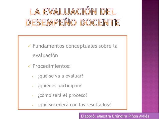  Fundamentos conceptuales sobre la evaluación  Procedimientos: • ¿qué se va a evaluar? • ¿quiénes participan? • ¿cómo se...