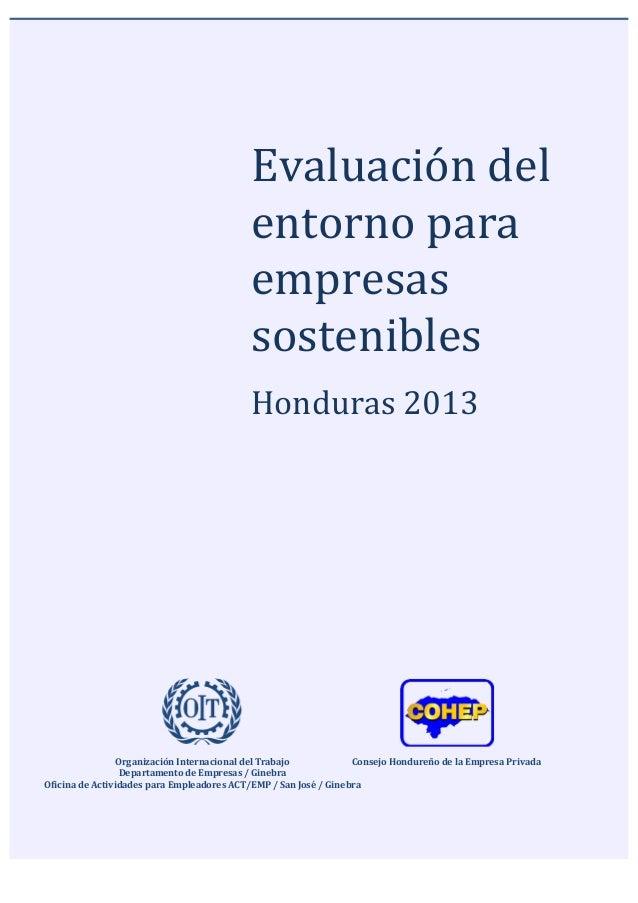 Evaluación  del   entorno  para   empresas   sostenibles         Honduras  201...