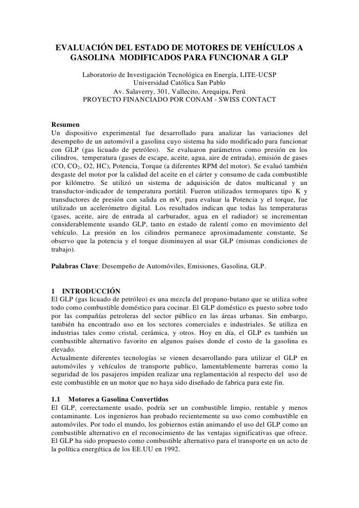 EVALUACIÓN DEL ESTADO DE MOTORES DE VEHÍCULOS A     GASOLINA MODIFICADOS PARA FUNCIONAR A GLP            Laboratorio de In...