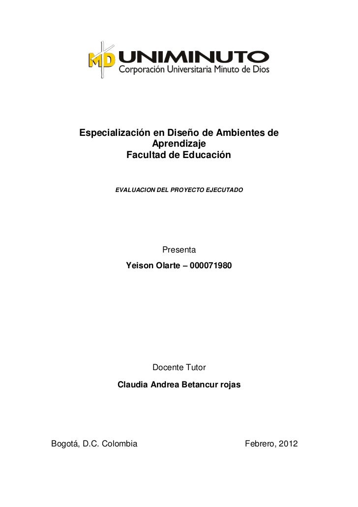 Especialización en Diseño de Ambientes de                     Aprendizaje                Facultad de Educación            ...