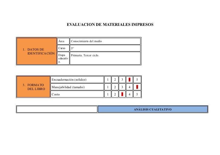 EVALUACION DE MATERIALES IMPRESOS                    Área     Conocimiento del medio                    Curso    5º1. DATO...