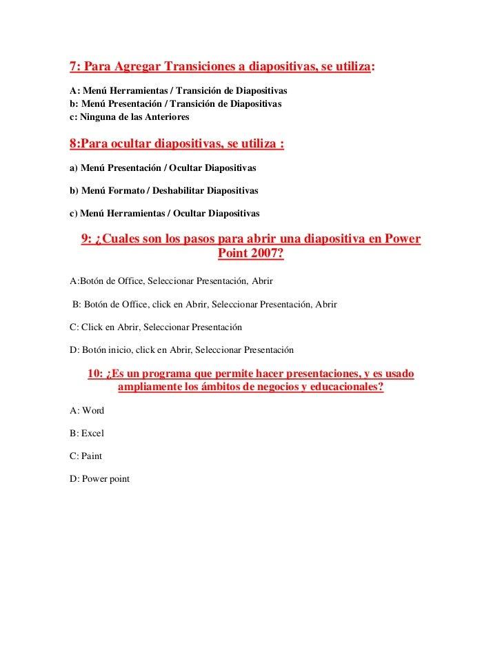 Evaluacion de power point Slide 2