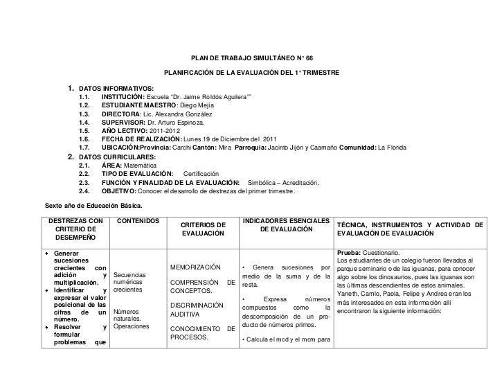 PLAN DE TRABAJO SIMULTÁNEO N° 66                                     PLANIFICACIÓN DE LA EVALUACIÓN DEL 1° TRIMESTRE      ...