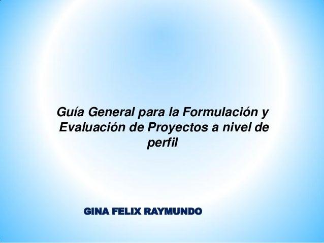Guía General para la Formulación y Evaluación de Proyectos a nivel de perfil GINA FELIX RAYMUNDO