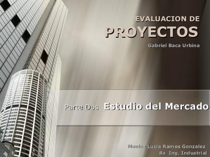 EVALUACION DE  PROYECTOS   Gabriel Baca Urbina  Parte Dos  Estudio del Mercado Monica Lucia Ramos Gonzalez  8a  Ing. Indus...