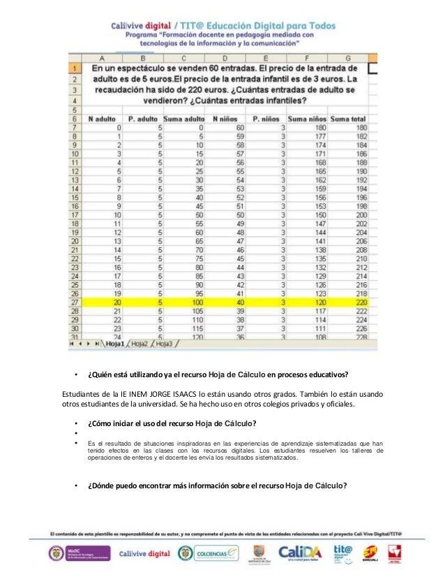 • ¿Quién está utilizando ya el recurso Hoja de Cálculo en procesos educativos? Estudiantes de la IE INEM JORGE ISAACS lo e...