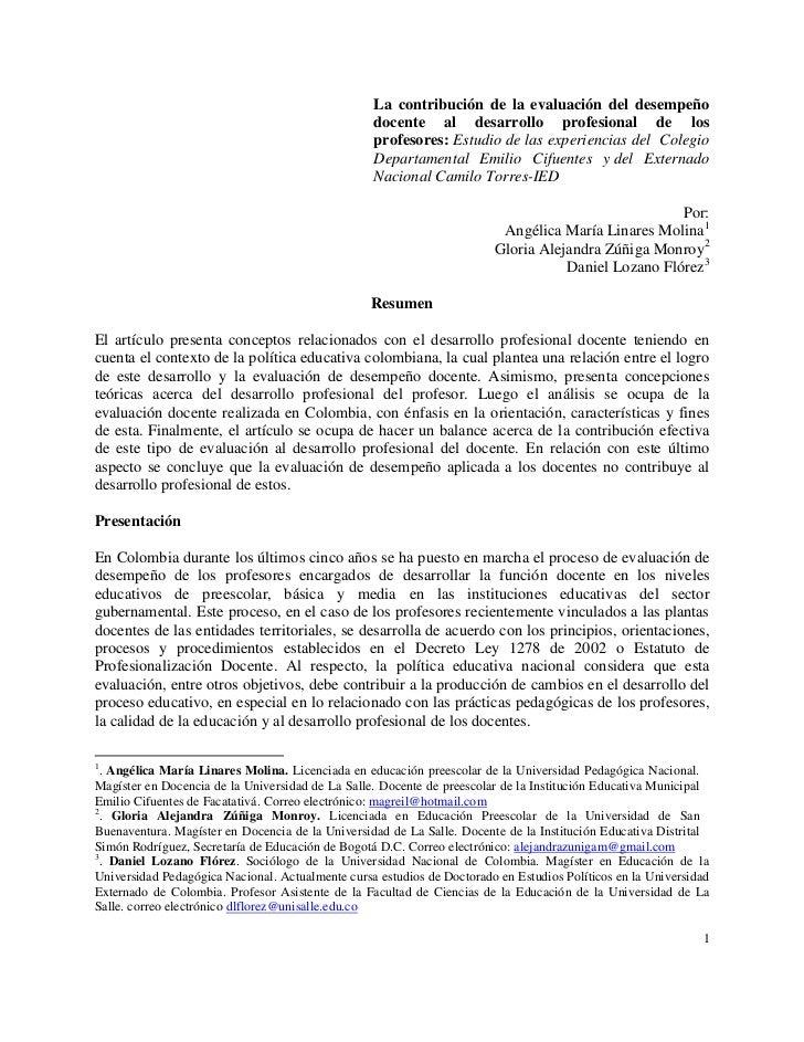 La contribución de la evaluación del desempeño                                                  docente al desarrollo prof...