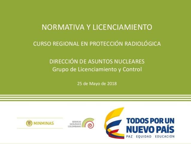NORMATIVA Y LICENCIAMIENTO CURSO REGIONAL EN PROTECCIÓN RADIOLÓGICA DIRECCIÓN DE ASUNTOS NUCLEARES Grupo de Licenciamiento...
