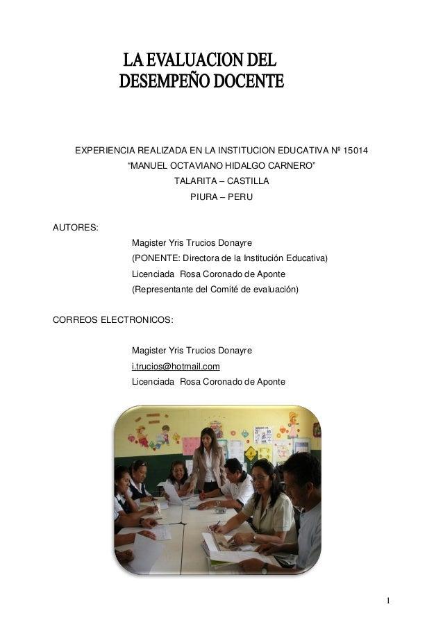 """1 EXPERIENCIA REALIZADA EN LA INSTITUCION EDUCATIVA Nº 15014 """"MANUEL OCTAVIANO HIDALGO CARNERO"""" TALARITA – CASTILLA PIURA ..."""