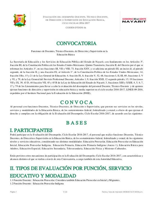 Evaluacion desempe o docente convocatoria nayarit 2016 for Convocatoria docentes 2016 ministerio de educacion