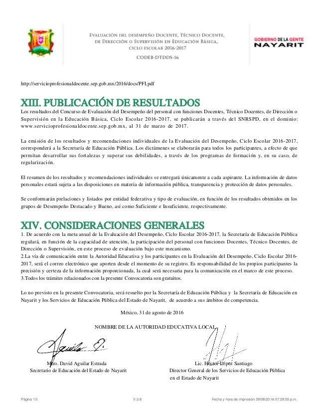 Evaluacion desempe o docente convocatoria nayarit 2016 for Convocatoria concurso docente 2016
