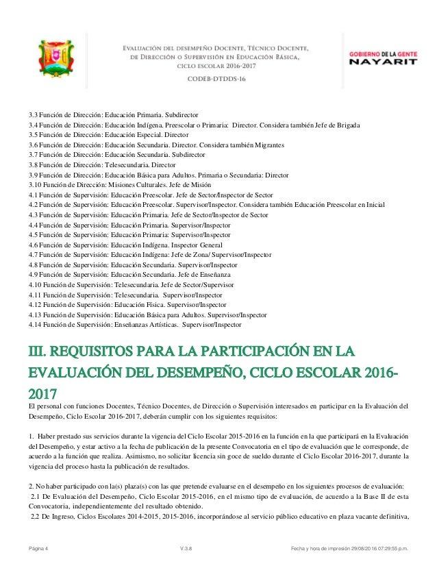 Evaluacion desempe o docente convocatoria nayarit 2016 for Convocatoria maestros 2016