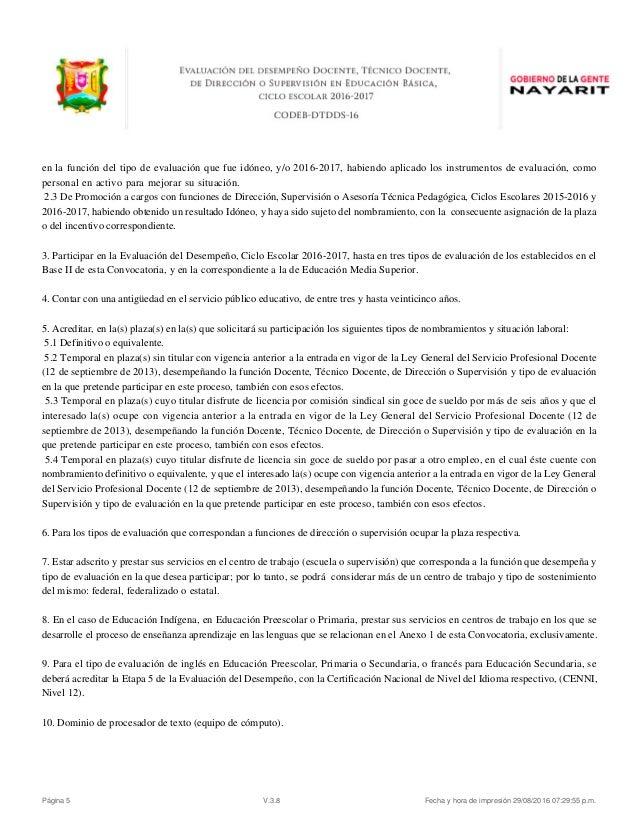 Evaluacion desempe o docente convocatoria nayarit 2016 for Convocatoria de plazas docentes 2017