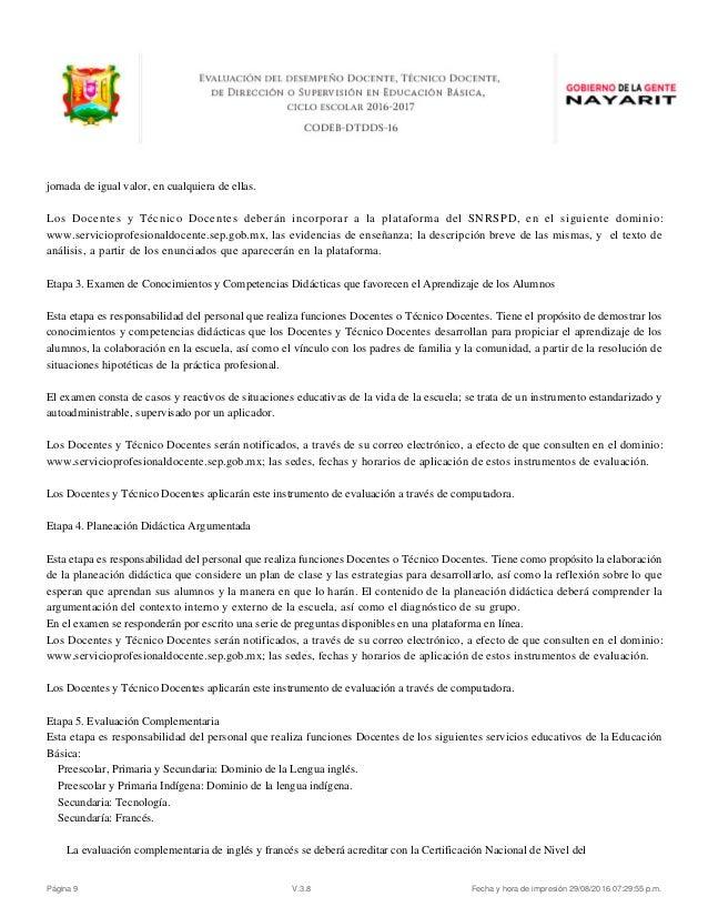 Evaluacion desempe o docente convocatoria nayarit 2016 for Convocatoria para las plazas docentes 2016