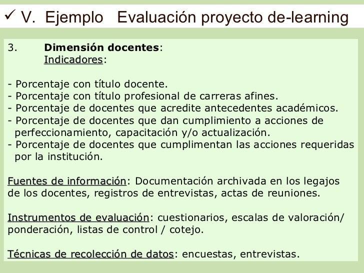  V. Ejemplo Evaluación proyecto de-learning3.     Dimensión docentes:       Indicadores:       Indicadores- Porcentaje co...