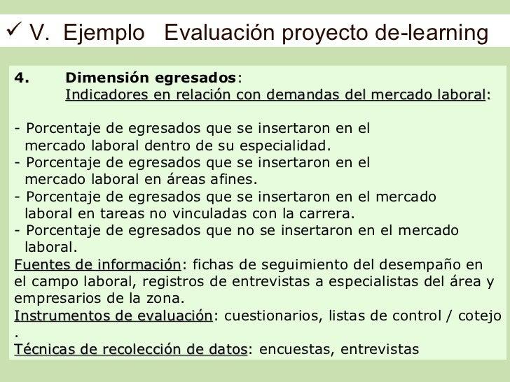  V. Ejemplo Evaluación proyecto de-learning4.     Dimensión egresados:       Indicadores en relación con demandas del mer...