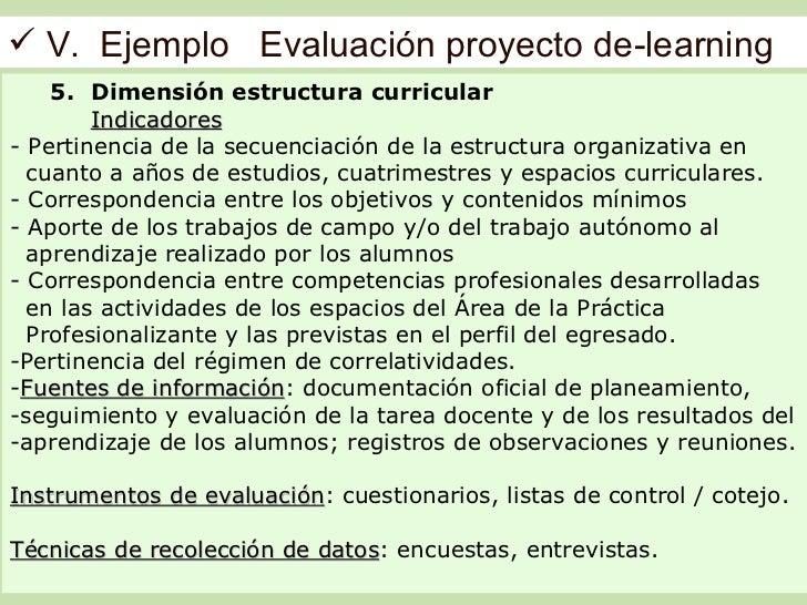  V. Ejemplo Evaluación proyecto de-learning    5. Dimensión estructura curricular        Indicadores- Pertinencia de la s...