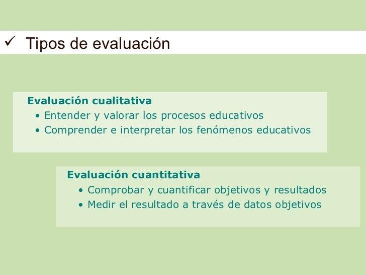  Tipos de evaluación  Evaluación cualitativa   • Entender y valorar los procesos educativos   • Comprender e interpretar ...