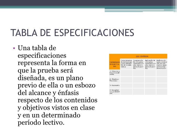 • Al elaborar una tabla de  especificaciones, el docente  examinador, en función de los  contenidos y objetivos que se  ex...