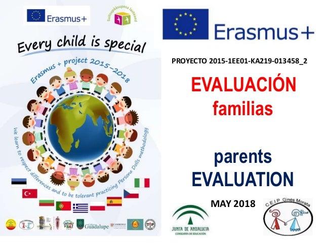 PROYECTO 2015-1EE01-KA219-013458_2 EVALUACIÓN familias parents EVALUATION MAY 2018