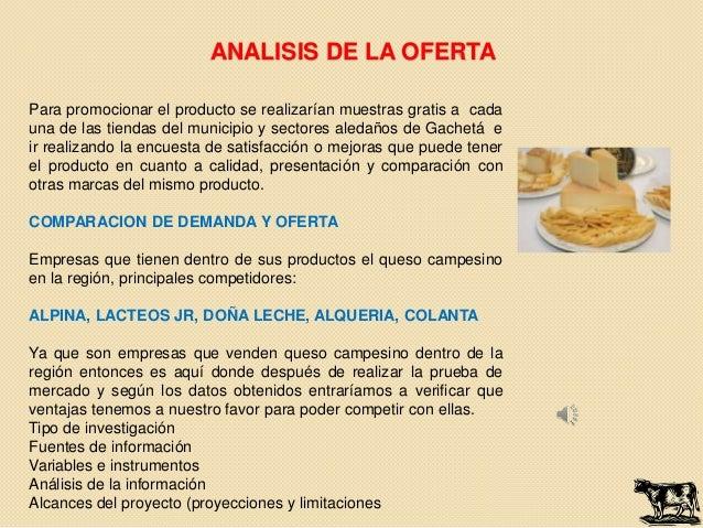ANALISIS DE LA OFERTAPara promocionar el producto se realizarían muestras gratis a cadauna de las tiendas del municipio y ...