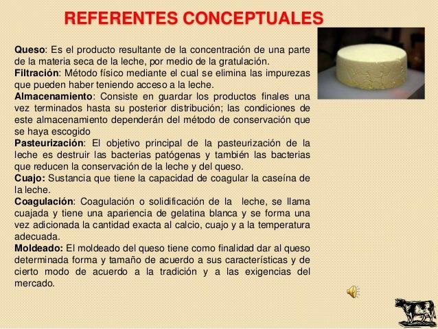 REFERENTES CONCEPTUALESQueso: Es el producto resultante de la concentración de una partede la materia seca de la leche, po...