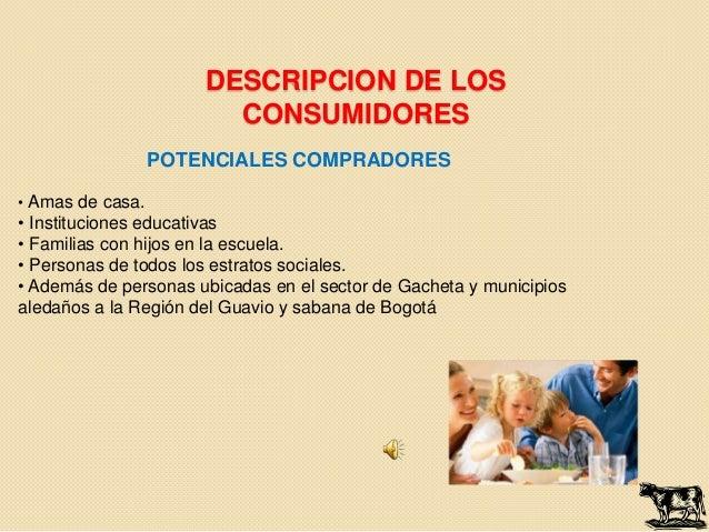 DESCRIPCION DE LOS                        CONSUMIDORES                  POTENCIALES COMPRADORES• Amas de casa.• Institucio...