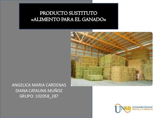 PRODUCTO SUSTITUTO        «ALIMENTO PARA EL GANADO»ANGELICA MARIA CARDENAS DIANA CATALINA MUÑOZ   GRUPO: 102058_287