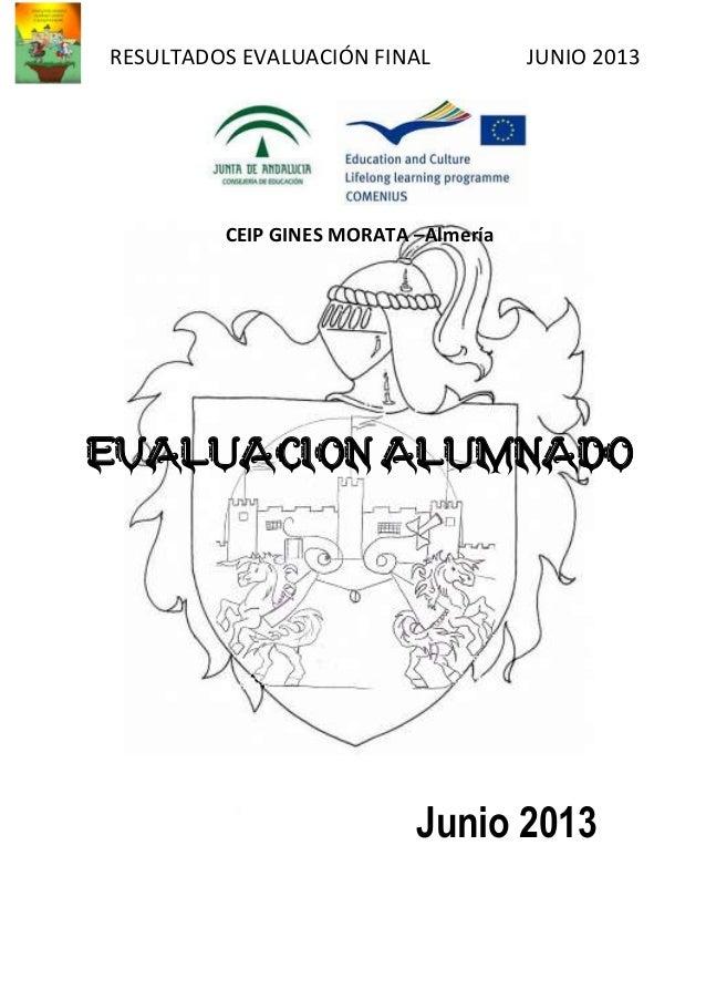 RESULTADOS EVALUACIÓN FINAL JUNIO 2013 CEIP GINES MORATA –Almería EVALUACION ALUMNADO Junio 2013