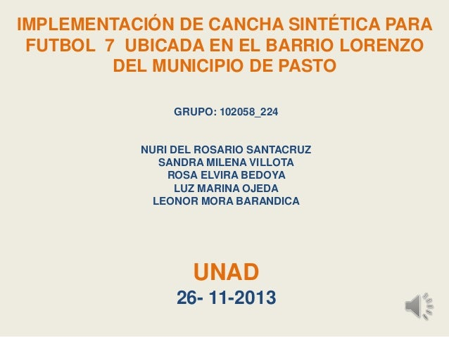 IMPLEMENTACIÓN DE CANCHA SINTÉTICA PARA FUTBOL 7 UBICADA EN EL BARRIO LORENZO DEL MUNICIPIO DE PASTO GRUPO: 102058_224  NU...